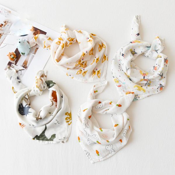 Bebé baberos Piel de saliva Toallas Animales Frutas Recién nacidos Paños del eructo Fibra de bambú suave Estampado de algodón Pañuelo Bufanda de alimentación 60 * 60 cm 14 estilos C6193