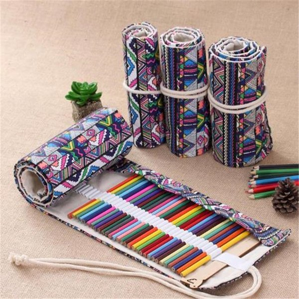 36 Holes Canvas Roll Up Pencil Wrap Pouch Holder Case, Handmade Pen Bag Painting Drawing Pencils Storage Holder Vintage Stationery