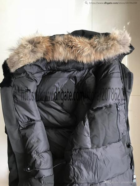 Outlet Royaume-Uni Hommes imperméable Manteau Parka Homme d'hiver Jassen Manteaux de fourrure à capuchon Big Down Jacket Fourrure Manteau Manteau Canada Hiver Doudoune