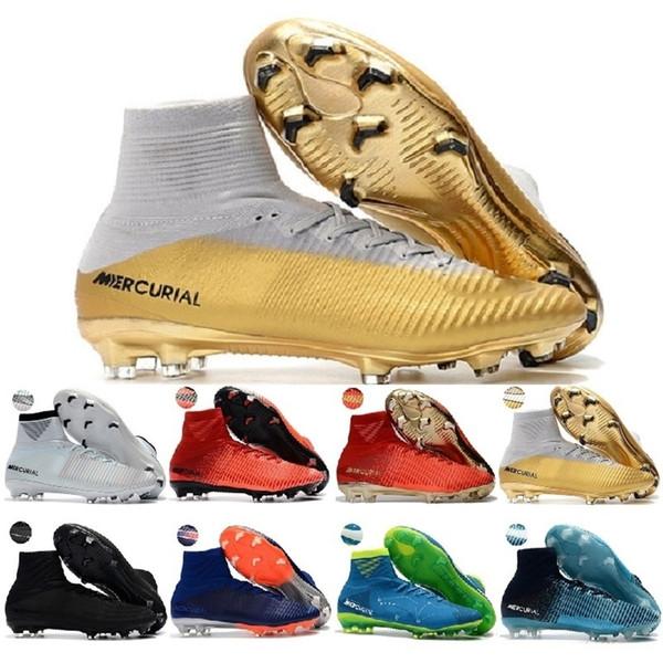 En Yüksek Erkek Çocuk Futbol Ayakkabıları Mercurial Cr7 Superfly V Fg Erkek Futbol Boots Magista Obra 2 Kadınlar Gençlik Futbol Cleats Cristiano Ronaldo