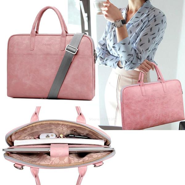 Мода Pu водонепроницаемый, устойчивый к царапинам Laptop Briefcase 13 14 15 дюймовый ноутбук сумка плеча чехол для женщин и мужчин
