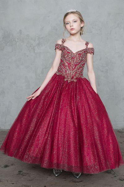 Bright Wine White Straps Applique Beads Flower Girl Dresses Princess Dresses Girl's Pageant Dresses Custom Made Size 2-6 8 10 12 14 F404442