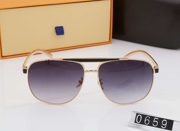 men new luxury logo sunglass attitude sunglass GOLD GREY square metal frame vintage style 0659S design classical model with box and case