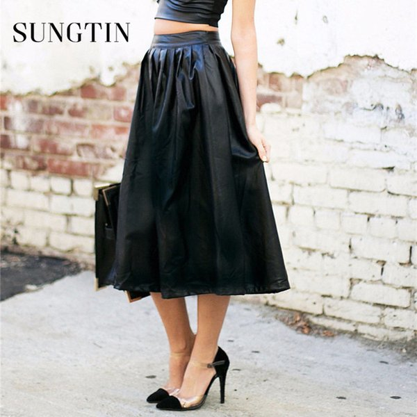 sungtin ladies long skirts for women faux leather pu skirt high-waist fashion a-line knee length casual pockets spring 2019, Black