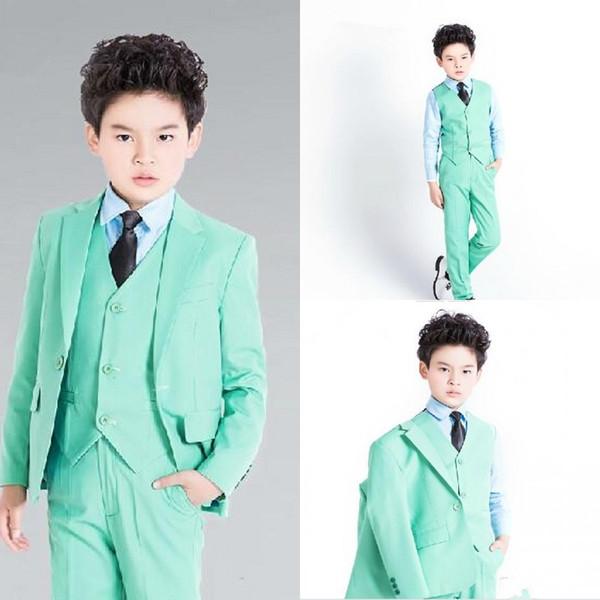 Green Boy smokings pour le mariage 2019 costume de fête pour enfants costume 3 pièces (veste + pantalon + gilet + arc)