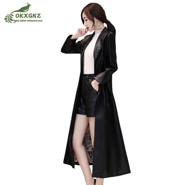 Jaqueta de couro longo das mulheres de moda 2019 outono inverno novo magro das mulheres primavera casaco senhoras pu trench coats de couro plus size 4xl