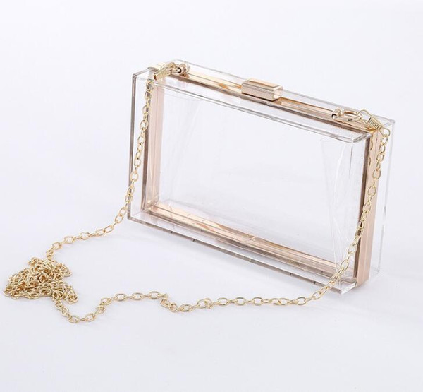 best selling 50pcs Transparent Acrylic bag bling Chain Box Bag clear crossbody bags clutch for women evening party