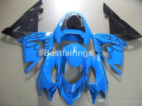 Moto parts fairing kit for Kawasaki Ninja ZX10R 2004 2005 black flames blue fairings set ZX10R 04 05 MT68