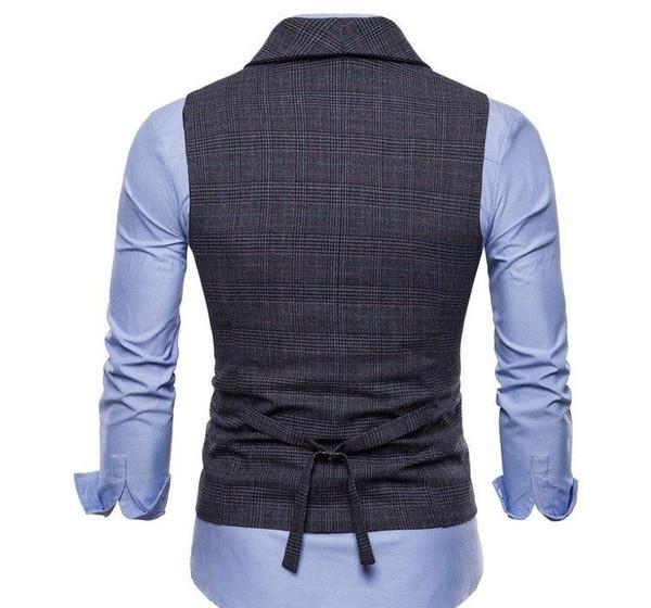 Erkek Yeni Stil Gri Kahve erkekler için moda-Rüzgar Erkek ler İş Yelek Moda Erkekler Pamuk Boş Ekose Küçük İnce Yelek gündelik Suit Yelek
