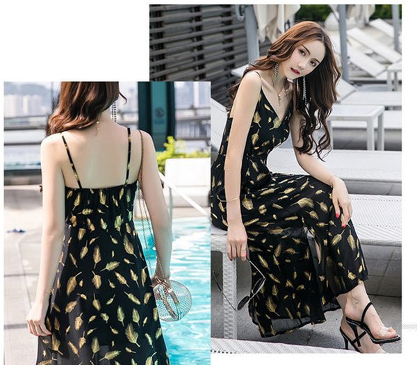 2019 Summer Fashion Low Chest Golden Feather Printed Long Skirt Backless Bohemian Casual Maxi Beach Dress for Vacation A0098