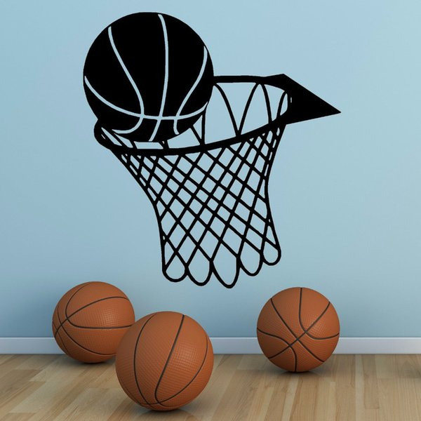 Wall Art Sticker Basketball Sports Wall Decals Removable Vinyl Basketball And Net Wall Mural Kids Boys Room Decoration