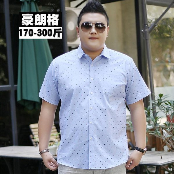 Plus size Summer Style Striped Shirt Men 100% Cotton Camisa Slim Fit Brand Clothing Short Sleeve Men Shirt Twill 10XL 9XL 8XL 6X