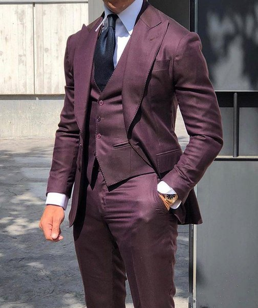 Handsome One Button Burgundy Wedding Groom Suits Peaked Lapel Groomsmen Men Tuxedos Prom Party Three Pieces (Jacket+Pants+Vest)