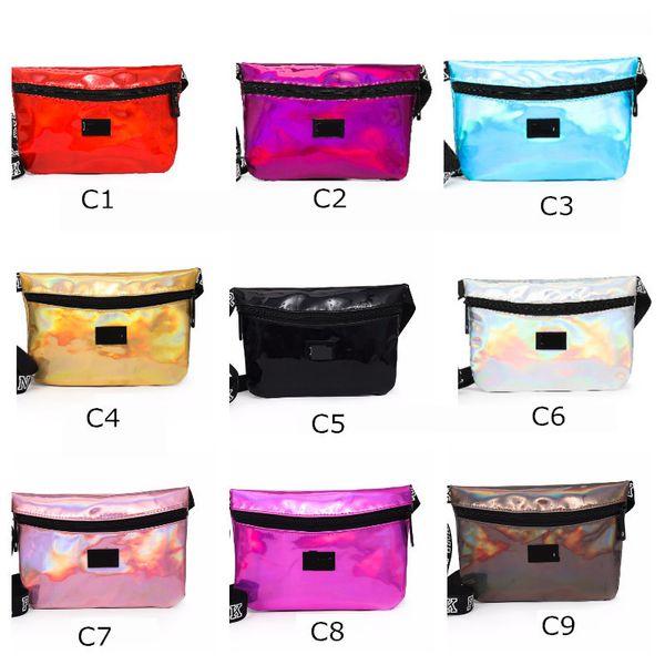 best selling Laser Rose Pink Black Fanny Pack Clutch 9 Colors Waist Belt Bag Fashion Beach Purse Bags Waterproof Handbags Purses Mini Cosmetic Bag
