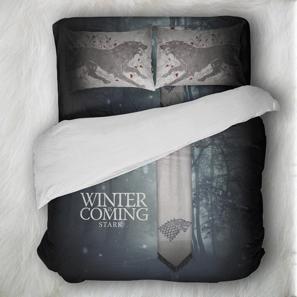 Black And White Skull Bedding Set Game Of Thrones Wolf Bedding Sets Queen Size Duvet Cover Sets Pillowcases Bed Linen colcha de
