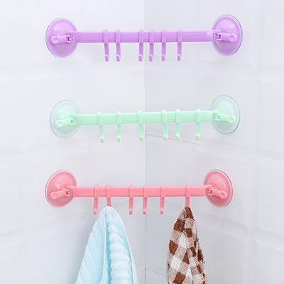 Travesseiro sem emenda poderoso ventosa 6 gancho livre banheiro unhas toalha de banho rack de sucção copo gancho ferramenta de armazenamento gancho de cozinha