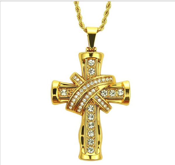 Explosive men's domineering three-dimensional cross with diamonds attractive personality Pendant Necklace European and American hip-hop styl