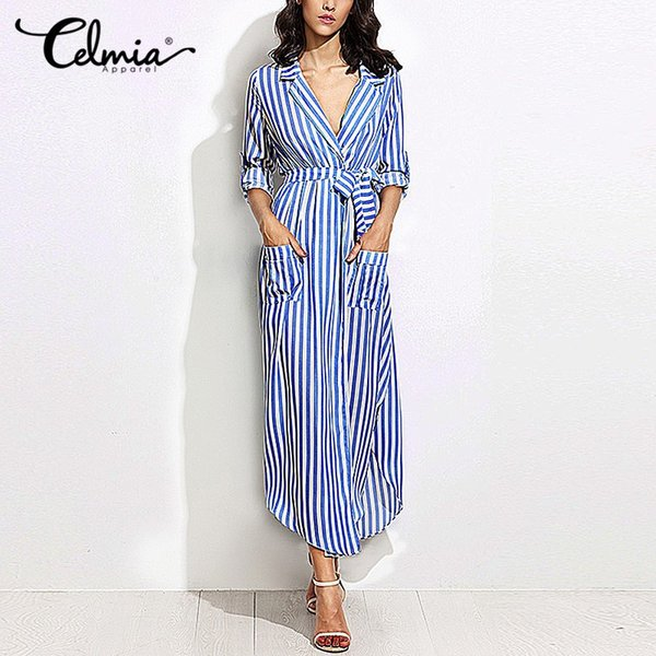Women EleVertical Striped Long Shirt Dress Cardigan Ladies Lapel Long Sleeve Split Maxi Dresses With Belt Plus Size Vestido