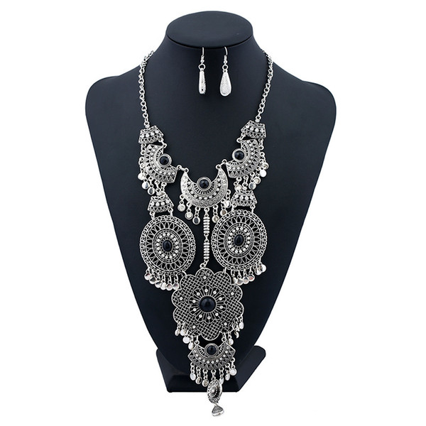 Exaggerated Bohemian Retro Hollow Flower Tassel Necklace Chain Female Accessories Collar Necklace