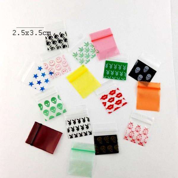 Herb 100 Pz / lotto 2.5 * 3.5 cm Piccoli sacchetti trasparenti con chiusura a zip stampata Mini Baggies Sigillo richiudibile in plastica Borsa magica