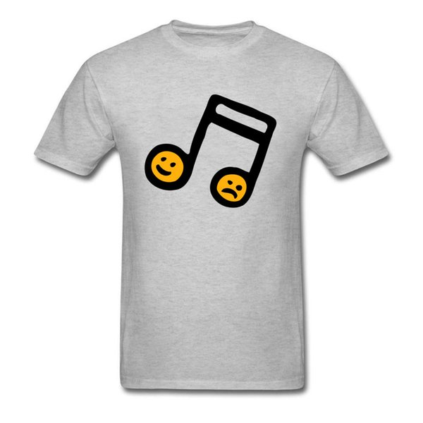 Happy & Sad Face Print Men's Short Sleeve T-shirt Musical Note Cartoon Grey Tee Shirt Simple Design Funny Summer
