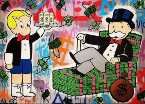 Alec Monopoly High Quaity Pintado a mano HD Impreso Arte en lienzo Pintura al óleo Arte de la pared Imagen Decoración para el hogar Graffiti Art Dinero Sofá