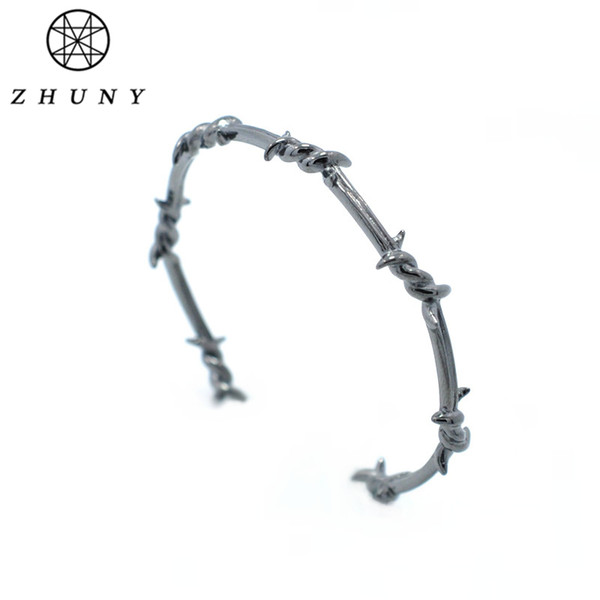 ZHUNY Luxury Brand Barbed Wire Gold Color Cuff Open Bangle Copper Twist Thorns Bracelets for Men & Women Geometric Simple Jewelr C19010401