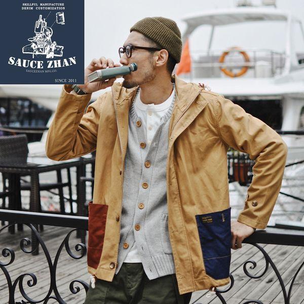 SauceZhan Vintage Trench Aramco Khaki avec une sauce pastel assortie et une veste en coton sergé Trench Coat pour homme
