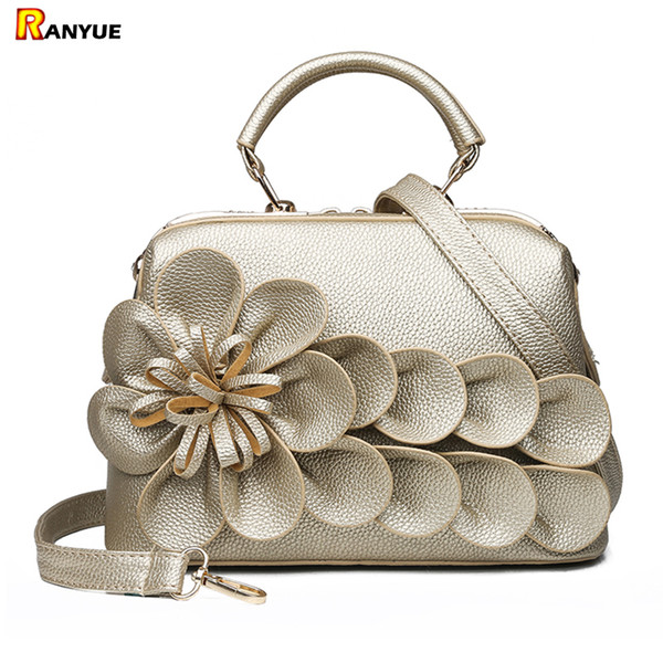 luxury gold red 3d leather flower handbags women bags designer brand famous crossbody bags for women ladies hand small tote