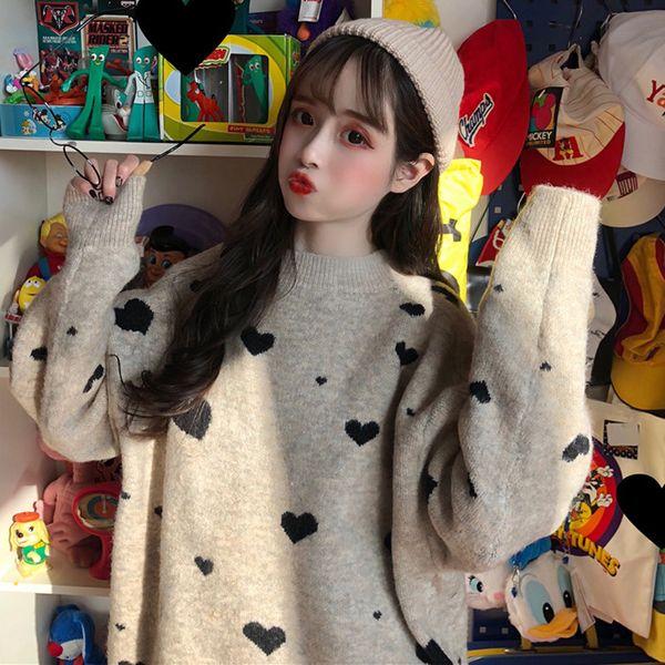 Winterfrauen Korean Harajuku Style Lazy Wind Pullover Lose Liebe Dicke Frauen Pullover Pullover Weihnachten Cute Heart Sweater