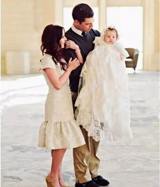 Infant White/Ivory Christening Dress Baby Girls Baptism Gown Flower Lace Applique Free Shipping Size 3 6 9 15 18 24 Month with Hat 135-2