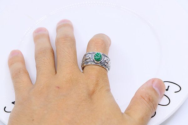 Sterling silver with green agate double tiger head ring retro British style temperament European and American aristocratic jewelry hipster
