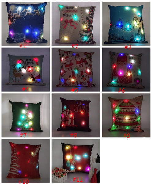 best selling Led Light Pillow Case Luminous Christmas Decorations Pillow Cover Santa Claus Reindeer Print Pillowcase Sofa Car Decor Xmas Cushion Covers