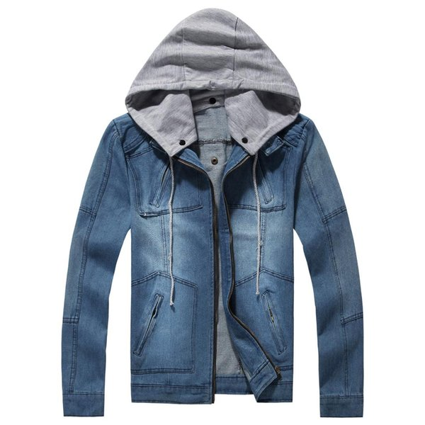 Plus Size Men's Spring Autumn Clothing Hooded denim Zipper Jacket Jacket Hat Can Be Disassembled Fashion Casual Jeans coat