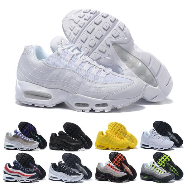 Acquista Nike Air Max 95 Shoes Vendita All'ingrosso Uomini Womens Triple Bianco Nero Running Shoes Mens Di Lusso Solar Red Neon Yellow Grape Sport