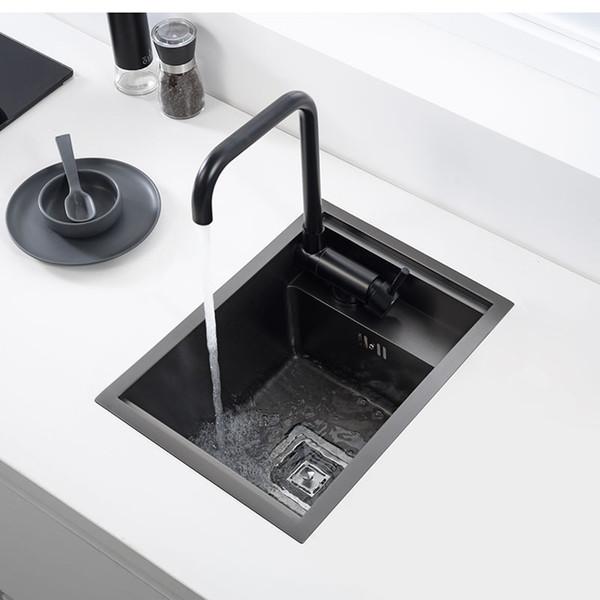 top popular Hidden black Kitchen sink Single bowl Bar Small Size Stainless Steel Balcony sink Concealed black kitchen sink Bar 2021