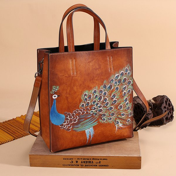 Johnature 2019 New Genuine Tote Casual in pelle Vintage Animal Prints Zipper Hard Versatile Hand Painted Peacock Women Handbags
