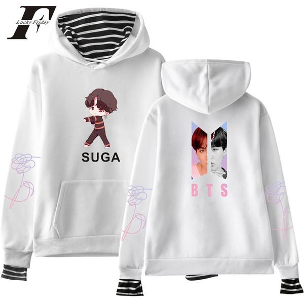 bts 2018 Love Youself oversized hoodies sweatshirts harajuku kawaii bts kpop cartoon Pop cotton Long Sleeve moletom Clothes
