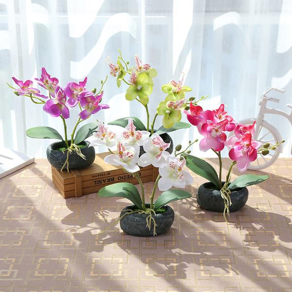 Yapay Kelebek Orkide Saksı Ev Balkon ev dekor ile tatil kutlayın Moss Plastik kapları ile ipek Flower bitkiler