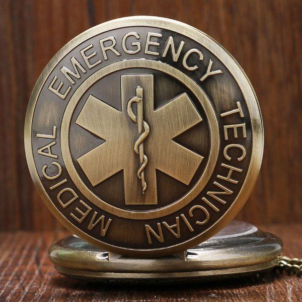 Atches Cep Fob Saatler EMT Acil Tıp Teknisyeni Paramedik Rozeti Yaşam Yıldızı EMS Kurtarma Hemşire Doktor Kuvars Pocket saat Neckl ...