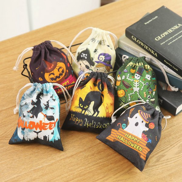 6styles Halloween Candy Bag drawstring Portable Handbags cartoon printed Halloween Pumpkin witch bag party Candy Gift Bag organizer FFA2943