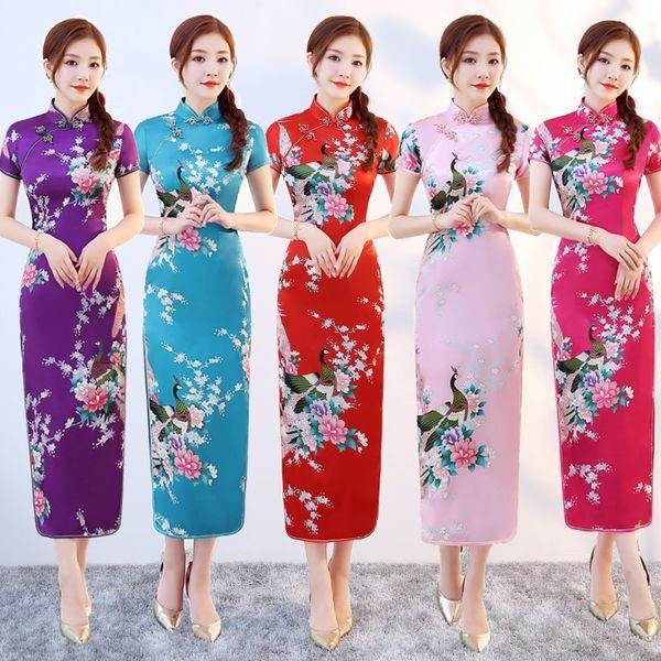 Oversize Women Flower Dress Female High Split Satin Print Short Sleeve Qipao Vintage Mandarin Collar Cheongsam Vestidos S-6XL