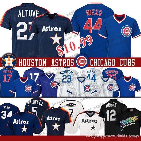 Chicago 44 Anthony Rizzo Cubs jersey Astros 27 Jose Altuve 23 Ryne Sandberg 5 Jeff Bagwell 12 Wade Boggs Baseball Jerseys Nolan Ryan