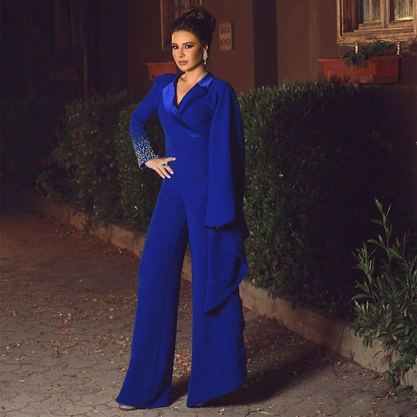 Modern Royal Blue Jumpsuit Evening Dresses V Neck Long Sleeve Pearls Women Pant Suits Ankle Length Satin Outfit