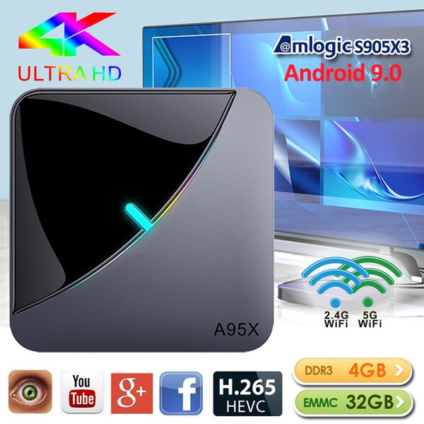 top popular A95X Android 9.0 TV Box 4G 32GB 64GB S905X3 Smart TV Box With 2.4G+5G Wifi BT caja de tv android TX6 2020