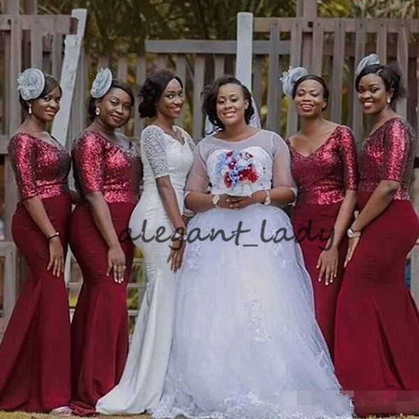 Burgundy sequins Bridesmaid Dresses V Neck Floor Length Mermaid Bride Maid Dresses For Weddings African Bridesmaids Dresses