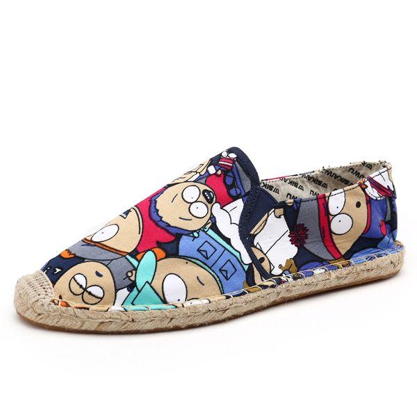 Respirant plat Cartoon Cartoon pour hommes Chaussure Soft Sole Voyage Bureau Marche Chaussures Casual