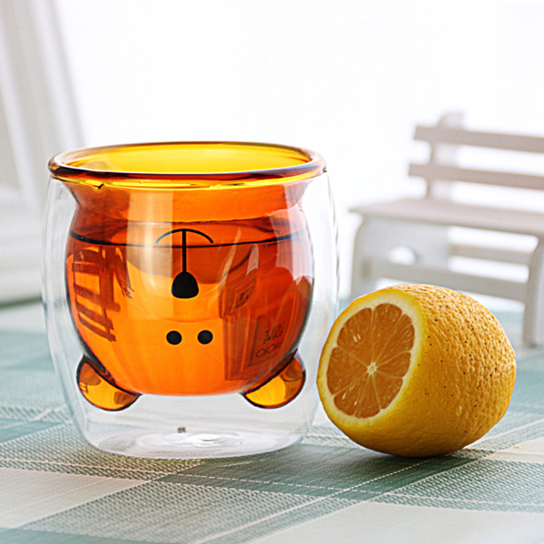 New Fashion Bear Amber glass cup 250ml double Borosilicate glass Beer mug para Coffee beer fruit juice