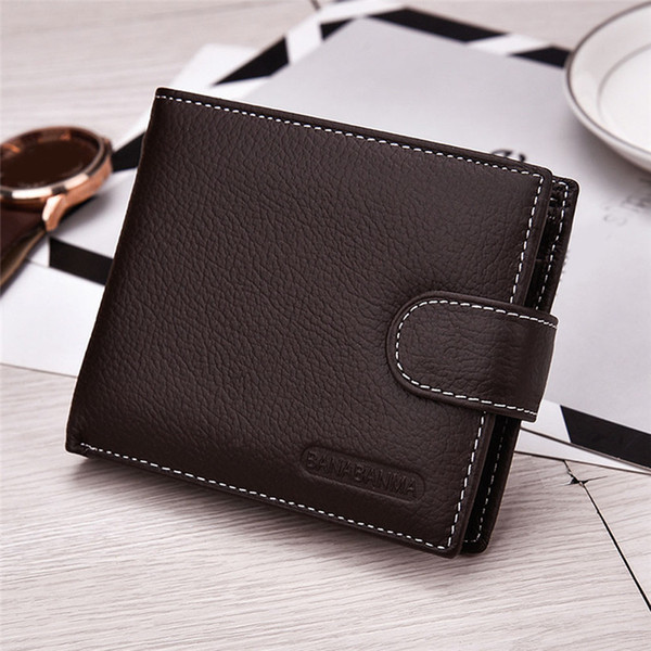 High Quality Genuine Cow Leather Simple Design Coffee/black Men's Mini Wallet European And American Style Men Small Pocket Purse