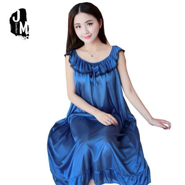 2018 летняя ночная рубашка sexy рукавов ночное платье женщины плюс размер XXXXL кружева и шелковые Ночные рубашки пижамы ночная рубашка ночная рубашка